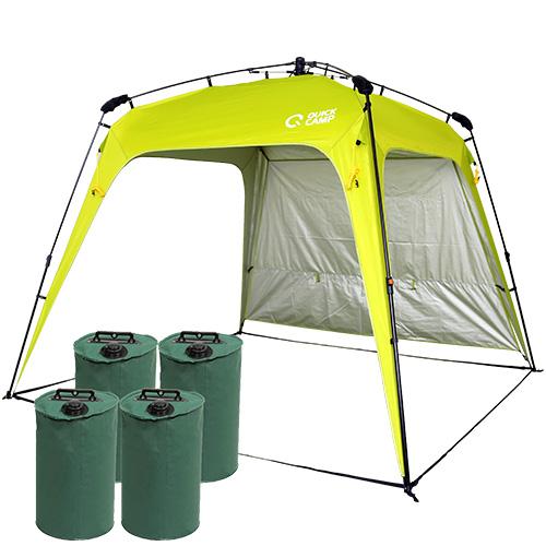 ワンタッチタープ 2.5m UVカット 遮熱 アウトドア タープテント ウエイトセット フラップ付き グリーン クイックキャンプ QC-TP250
