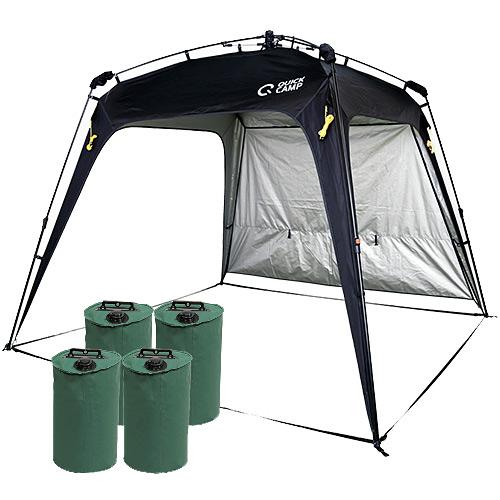 ワンタッチタープ 2.5m UVカット 遮熱 アウトドア タープテント ウエイトセット フラップ付き ブラック クイックキャンプ QC-TP250