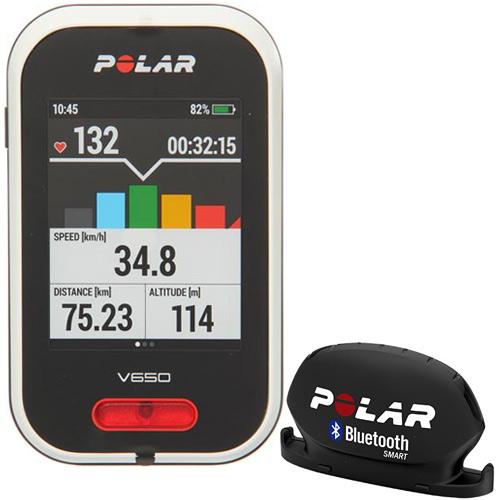 ポラール polar サイクルコンピューター V650 GPS 日本語対応/正規品 90050531+ケイデンスセンサー BLE ブラック 91053161