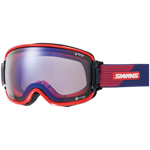 スワンズ SWANS メンズ レディース スノーボード ゴーグル RL-U/MDH-SC-PAF ULTRAレンズRIDGELINE メガネ対応 ネイビー×レッド 3010072255822