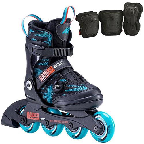 プロテクター付き 子供 ローラースケート 誕生日 ケーツー K2 ジュニア インラインスケート 新着セール レイダーボア BOA セール品 ブルーカモ I20020030 キッズ RAIDER I130400101