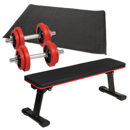 ダンベルトレーニング 4点セットC レッド 10kg 折りたたみフラットベンチ ラバーダンベル 10kg 2個セット 保護マット