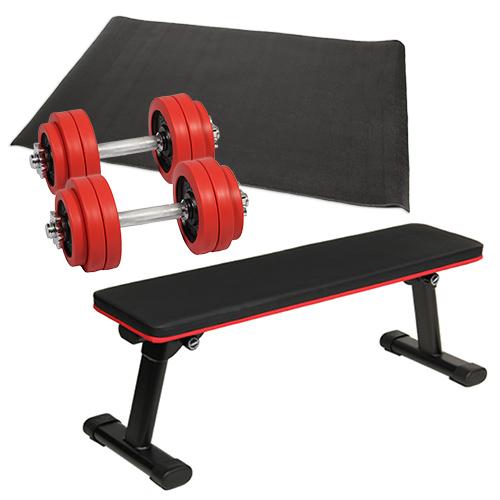 ダンベルトレーニング 4点セットC レッド 15kg 折りたたみフラットベンチ ラバーダンベル 15kg 2個セット 保護マット