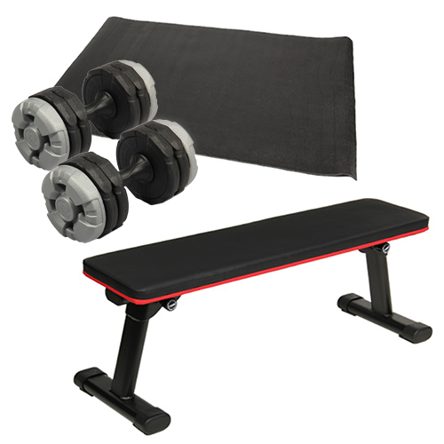 ダンベルトレーニング4点セットC:マットブラック 折りたたみフラットベンチ アーミーダンベル10kg×2個セット マット