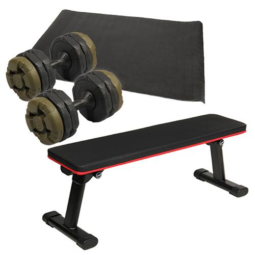 ダンベルトレーニング4点セットC:アーミーグリーン 折りたたみフラットベンチ アーミーダンベル10kg×2個セット マット