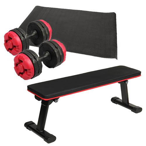 ダンベルトレーニング4点セットC:レッド 折りたたみフラットベンチ アーミーダンベル レッド10kg×2個 保護マット