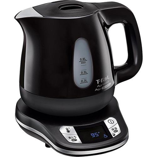 ティファール T-fal キッチン用品 電気ケトル アプレシア エージー・プラス コントロール オニキスブラック 0.8L KO6208JP