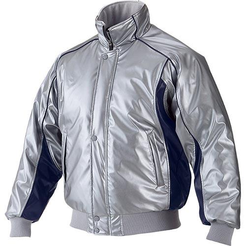 アシックス asics メンズ レディース 野球ウェア グラウンドコート シルバー×ネイビー BAG001 1050