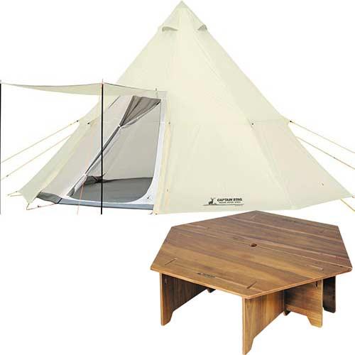 キャプテンスタッグ CAPTAINSTAG テント CSクラシック ワンポールテント オクタゴン460UV 8人用 UA-35 & CSクラシックス ヘキサセンターテーブル 96 UP-1040