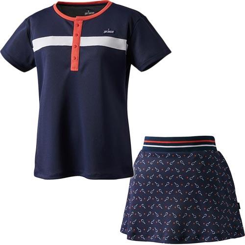 プリンス Prince レディース テニスウェア ゲームシャツ & スカート 上下セット ネイビー WS0005 127/WS0302 127