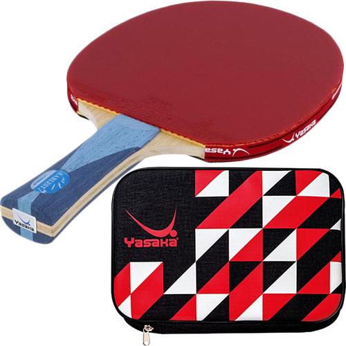 ヤサカ Yasaka 卓球 シェークラケット アーレスト7+ FLA & 張り上げ済み ラバー オリジナルエクストラ 赤・黒 &クラストライケース 赤 5点セット
