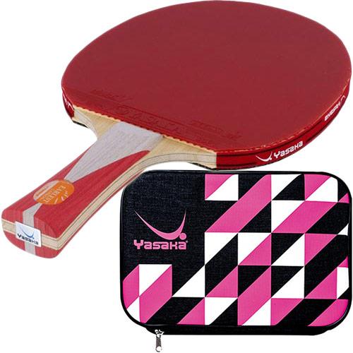 ヤサカ Yasaka 卓球 シェークラケット アーレストカーボン+ FLA & 張り上げ済み ラバー マークV 皮無 赤・黒 & クラストライケース ピンク 5点セット