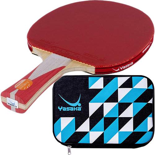ヤサカ Yasaka 卓球 シェークラケット アーレストカーボン+ FLA & 張り上げ済み ラバー マークV 皮無 赤・黒 & クラストライケース サックス 5点セット