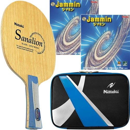 ニッタク Nittaku 卓球 シェークラケット サナリオンS FL & 未張り上げ ラバー ジャミン レッド・ブラック & スパークケース ブルー 4点セット