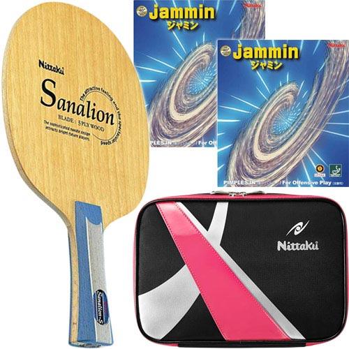 ニッタク Nittaku 卓球 シェークラケット サナリオンS FL & 未張り上げ ラバー ジャミン レッド・ブラック & スパークケース ピンク 4点セット