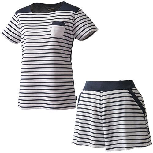 プリンス Prince レディース テニスウェア 上下セット ゲームシャツ & フレアーキュロット WL8085 146/WL8342 146 ホワイト/ホワイト
