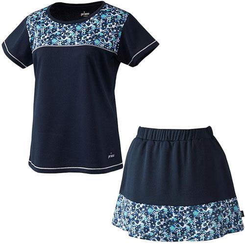 プリンス Prince レディース テニスウェア 上下セット ゲームシャツ & スカート WL8093 127/WL8351 127 ネイビー/ネイビー