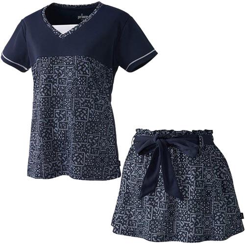 プリンス Prince レディース テニスウェア 上下セット ゲームシャツ & スカート バンダナ柄 WL8079 127/WL8330 127 ネイビー/ネイビー