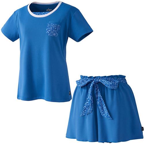 プリンス Prince レディース テニスウェア 上下セット ゲームシャツ & フレアーキュロット バンダナ柄 WL8080 129/WL8331 129 Sブルー/Sブルー