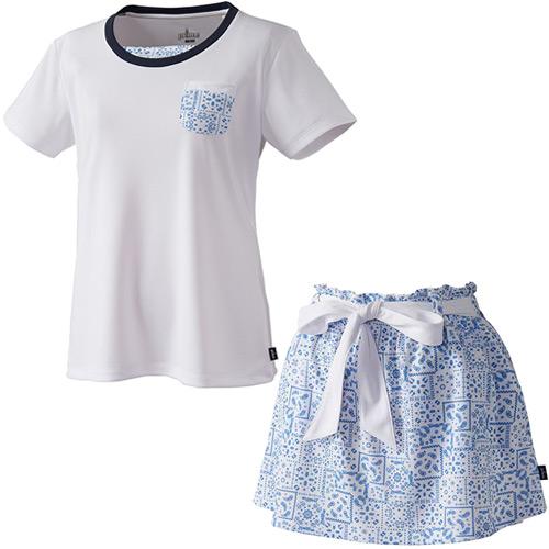プリンス Prince レディース テニスウェア 上下セット ゲームシャツ & スカート バンダナ柄 WL8080 146/WL8330 146 ホワイト/ホワイト