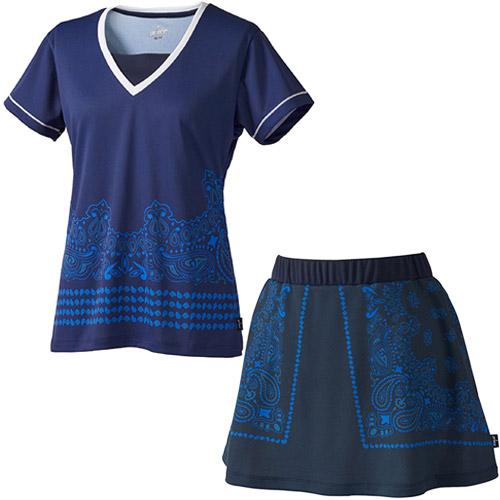 プリンス Prince レディース テニスウェア 上下セット ゲームシャツ & スカート ペーズリー柄 WL8082 127/WL8338 127 ネイビー/ネイビー