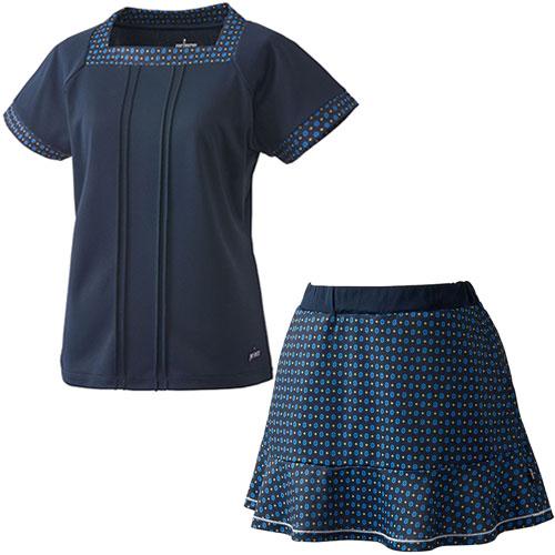 プリンス Prince レディース テニスウェア 上下セット ゲームシャツ & スカート WL8083 127/WL8339 315 ネイビー/Nネイビー