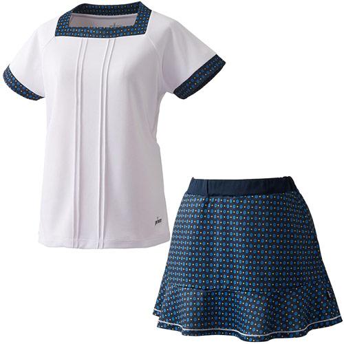 プリンス Prince レディース テニスウェア 上下セット ゲームシャツ & スカート WL8083 146/WL8339 315 ホワイト/Nネイビー
