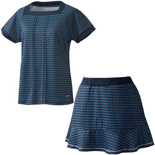 プリンス Prince レディース テニスウェア 上下セット ゲームシャツ & スカート WL8083 315/WL8339 315 Nネイビー/Nネイビー