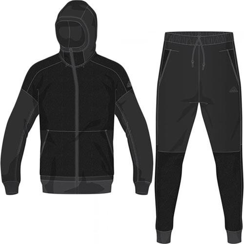 アディダス adidas メンズ ID ファブリックミックス パーカー & パンツ 上下セット ブラック FKJ86 DN1458/FKJ87 DN1455