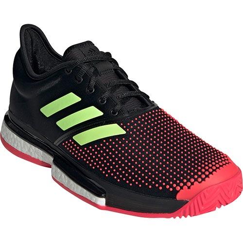 アディダス adidas メンズ テニスシューズ ソールコート ブースト マルチコート コアブラック/ハイレゾイエロー/ショックレッド AQO07 AH2131