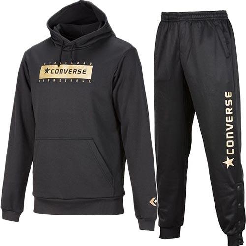 コンバース CONVERSE メンズ バスケットボール GS スウェットパーカー+パンツ ブラック CBG282201/CBG282202