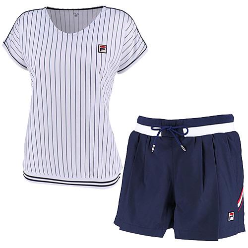 フィラ FILA レディース テニスウェア 上下セット ゲームシャツ & ショートパンツ ホワイト/フィラネイビー VL1935 01/VL1912 20