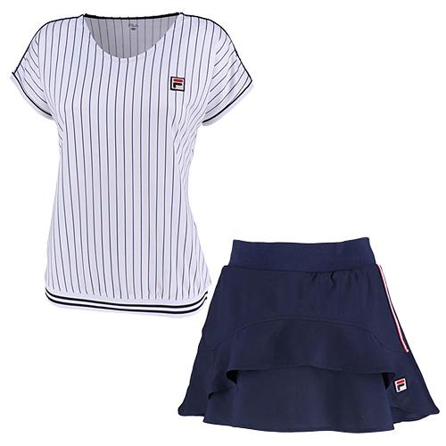 フィラ FILA レディース テニスウェア 上下セット ゲームシャツ & スコート ホワイト/フィラネイビー VL1935 01/VL1914 20
