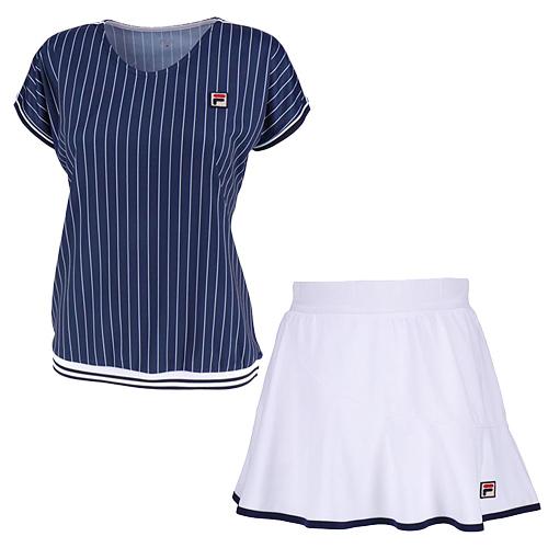 フィラ FILA レディース テニスウェア 上下セット ゲームシャツ & スコート フィラネイビー/ホワイト VL1935 20/VL1917 01
