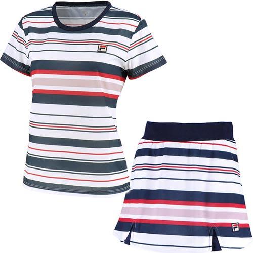 フィラ FILA レディース テニス ゲームシャツ & スコート 上下セット フィラネイビー VL1940 20/VL1941 20