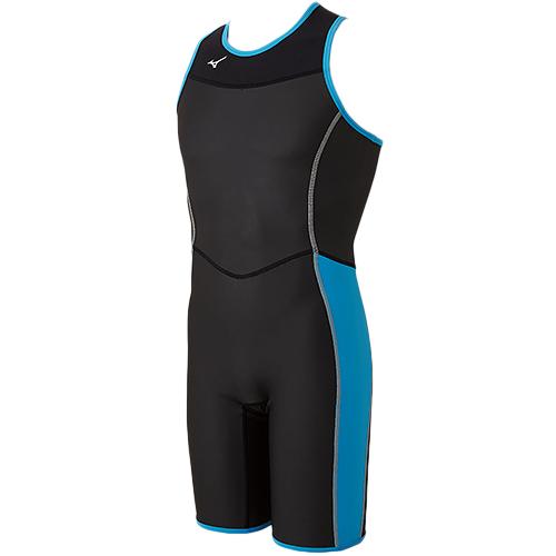 ミズノ MIZUNO メンズ 競泳水着 ホットスーツSC ハーフスーツ ブラック×ライトブルー N2MG8565 91