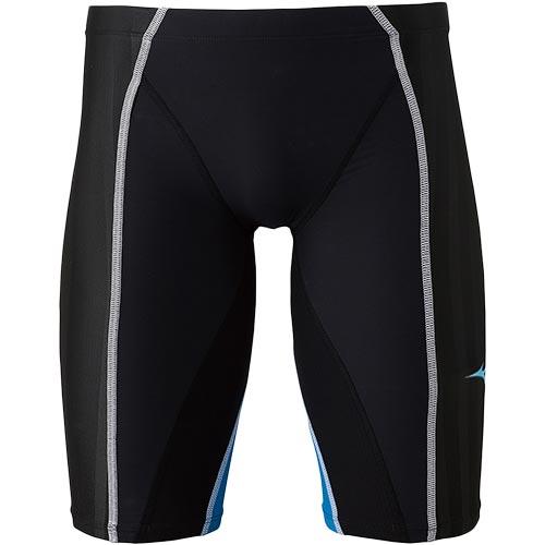 ミズノ MIZUNO ジュニア 競泳水着 FX-SONIC+ ハーフスパッツ ブラック×ターコイズ N2MB9430 91 男の子