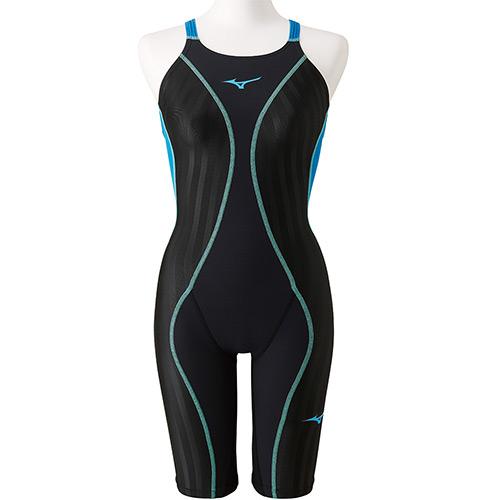 ミズノ MIZUNO レディース 競泳水着 FX-SONIC+ ハーフスーツ ブラック×ターコイズ N2MG9230 91