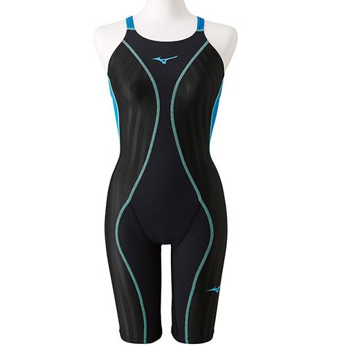 ミズノ MIZUNO ジュニア 競泳水着 FX-SONIC+ ハーフスーツ ブラック×ターコイズ N2MG9430 91 女の子