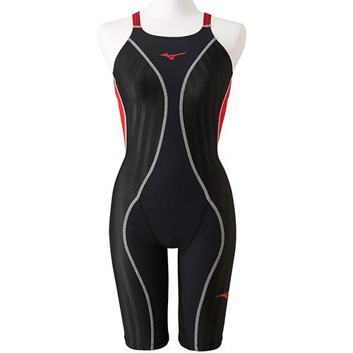 ミズノ MIZUNO ジュニア 競泳水着 FX-SONIC+ ハーフスーツ ブラック×ブライトレッド N2MG9430 96 女の子