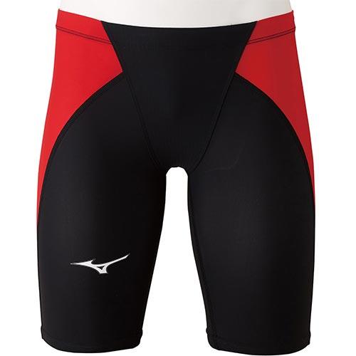 ミズノ MIZUNO ジュニア 競泳水着 MX・SONIC α ハーフスパッツ ブラック×レッド N2MB0411 96 男の子