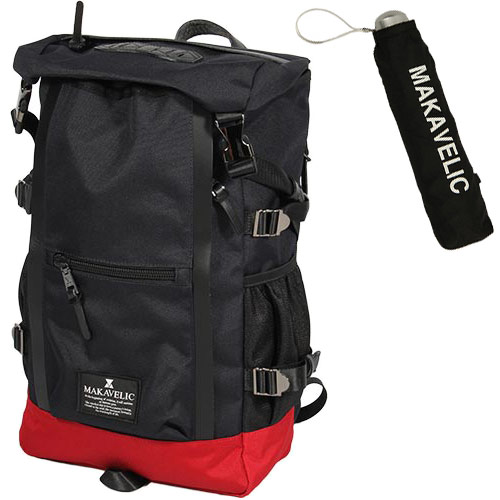 MAKAVELIC マキャベリック バックパック CHASE DOUBLE LINE BACKPACK ダークネイビー/レッド 3106-10107/MV-UNB