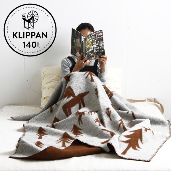 【正規取扱店】KLIPPAN ウールシングルブランケット HORSES GO TO THE MOON(SIZE:1300mm×1800mm/グレー・ブラウン) KP891850【クリッパン ミナ・ペルホネン 皆川明 エコラムウール ギフト 贈り物】