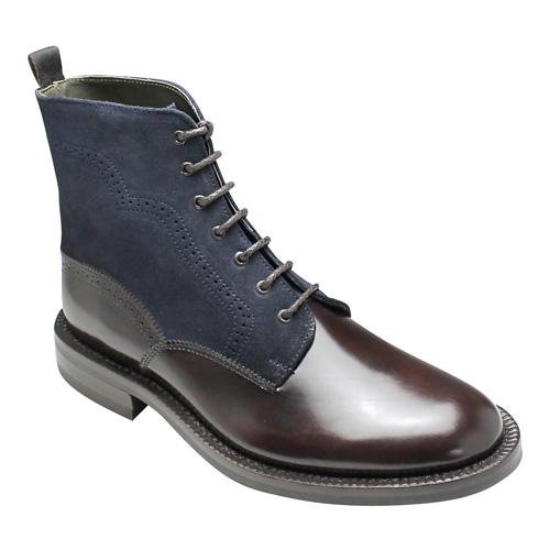 【ABBEY ROAD(アビーロード)】牛革ガラス仕上げとスエード素材のコンビがオシャレなレースアップブーツ・AB2026((バーガンディーネイビー)/メンズ 靴