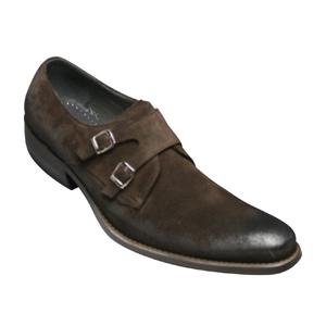 【Black List(ブラック リスト)】脚長ロングノーズシューズ・ポインテッドトゥ(ダブルベルト)BC3106(ブラウンスエード)/メンズ 靴
