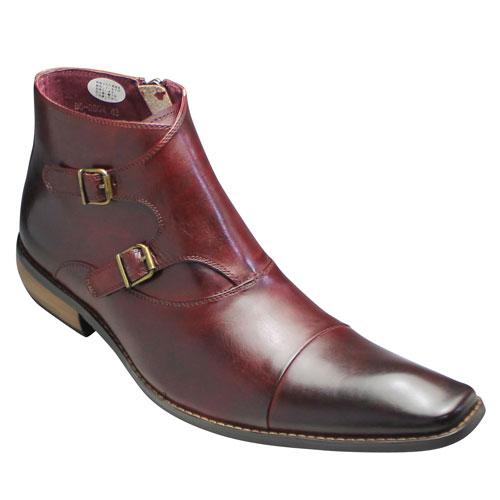 春のコレクション 【Bump N' GRIND(バンプ 靴 アンド グラインド)】ロングノーズのダブルベルトブーツ(バファローカーフ)・BG2804(ワイン)【Bump GRIND(バンプ・脚長/メンズ 靴, 南知多町:54df7ece --- phcontabil.com.br