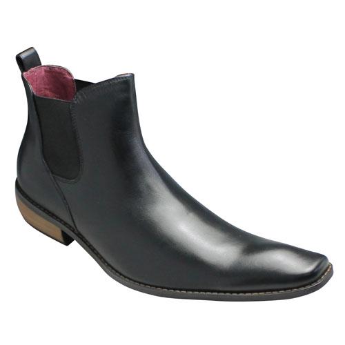 【Bump N' GRIND(バンプ アンド グラインド)】ロングノーズのサイドゴアブーツ(牛革)・BG2819(ブラック)・脚長/メンズ 靴