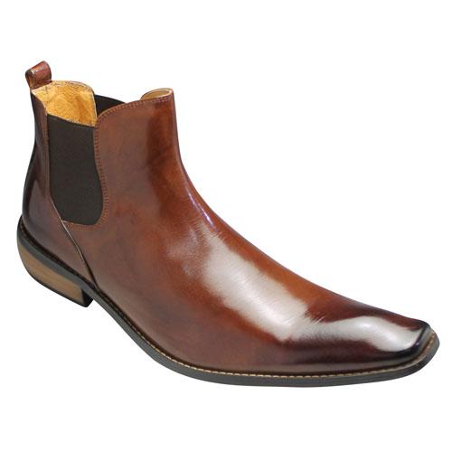 【Bump N' GRIND(バンプ アンド グラインド)】ロングノーズのサイドゴアブーツ(バッファローカーフ)・BG2819(キャメル)・脚長/メンズ 靴