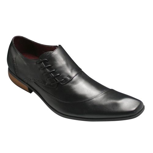 【Bump N' GRIND(バンプ アンド グラインド)】有機的なラインが魅力の脚長・牛革ドレスシューズ(サイドレース)・BG6001(ブラック)/メンズ 靴