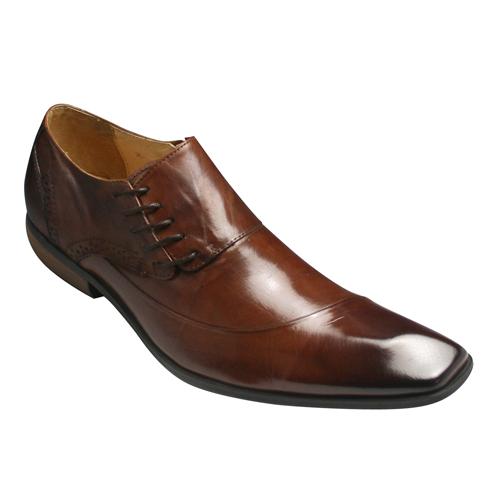 【Bump N' GRIND(バンプ アンド グラインド)】有機的なラインが魅力の脚長・牛革ドレスシューズ(サイドレース)・BG6001(キャメル)/メンズ 靴